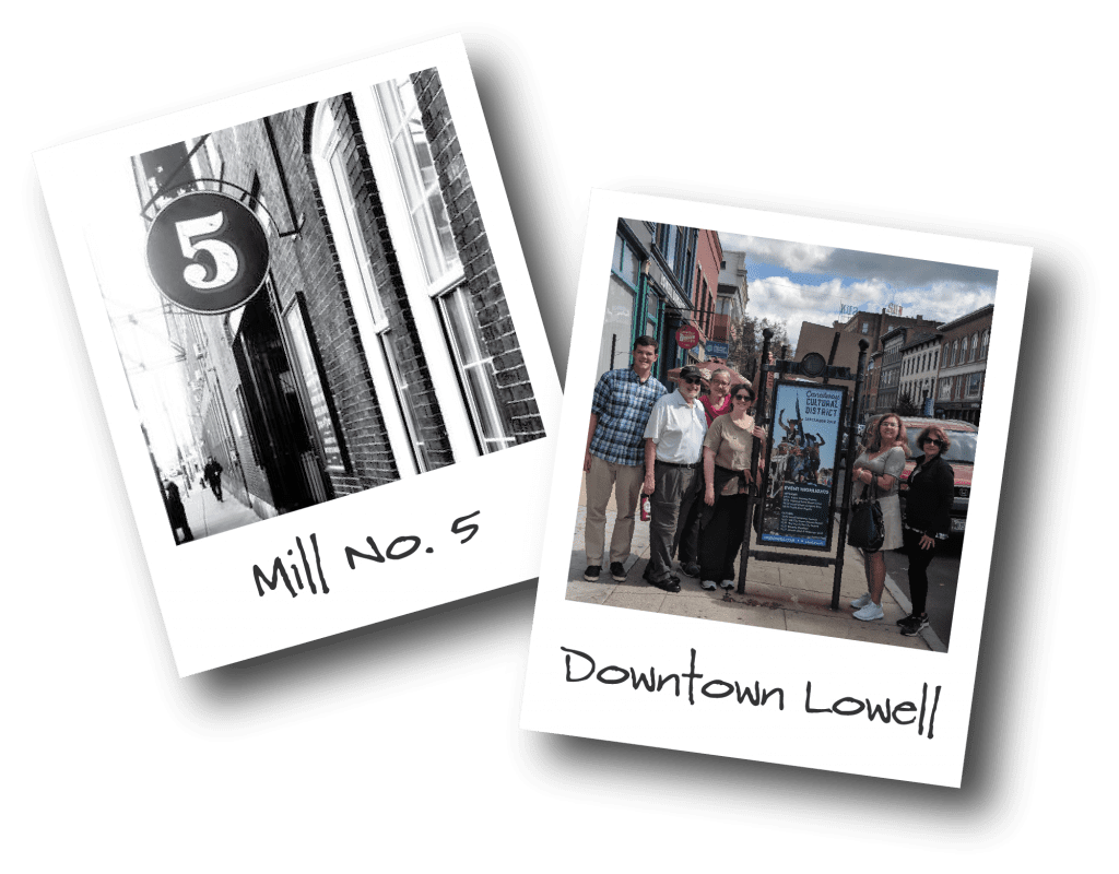 Two polaroids showing Lowell Mill No. 5 and Downtown Lowell.