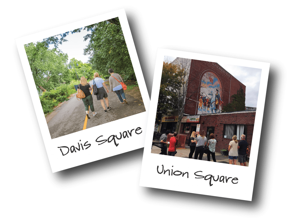 Two polaroids showing people walking in Davis Square and a mural in Union Square, Somerville.