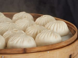 bao steaming on a plate