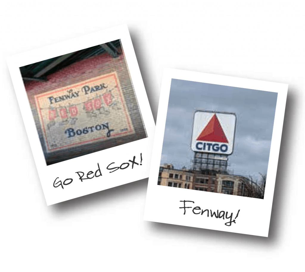 Two polaroids showing a mural at Fenway Park and the famous Citgo sign.