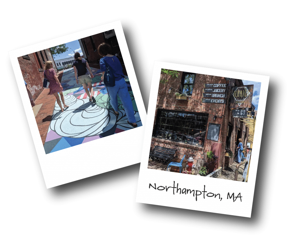 Two polaroid photos show three women walking over an art mural painted on the street while enjoying an Off the Beaten Path Food Tour in Northampton; and the outside facade of a local cafe.