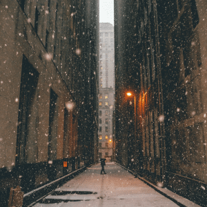 snowy city scene