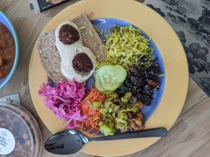 colorful mezze on a plate