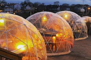 outdoor igloo dining pods