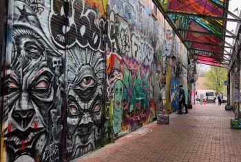 Graffiti Alley as seen in Central Square, Cambridge, MA.